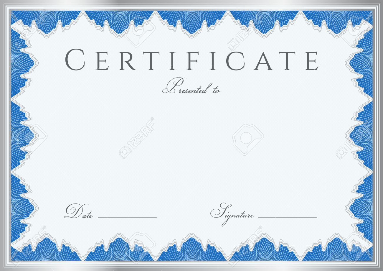 Blue Certificate Diploma Of Completion Design Template Sample ...