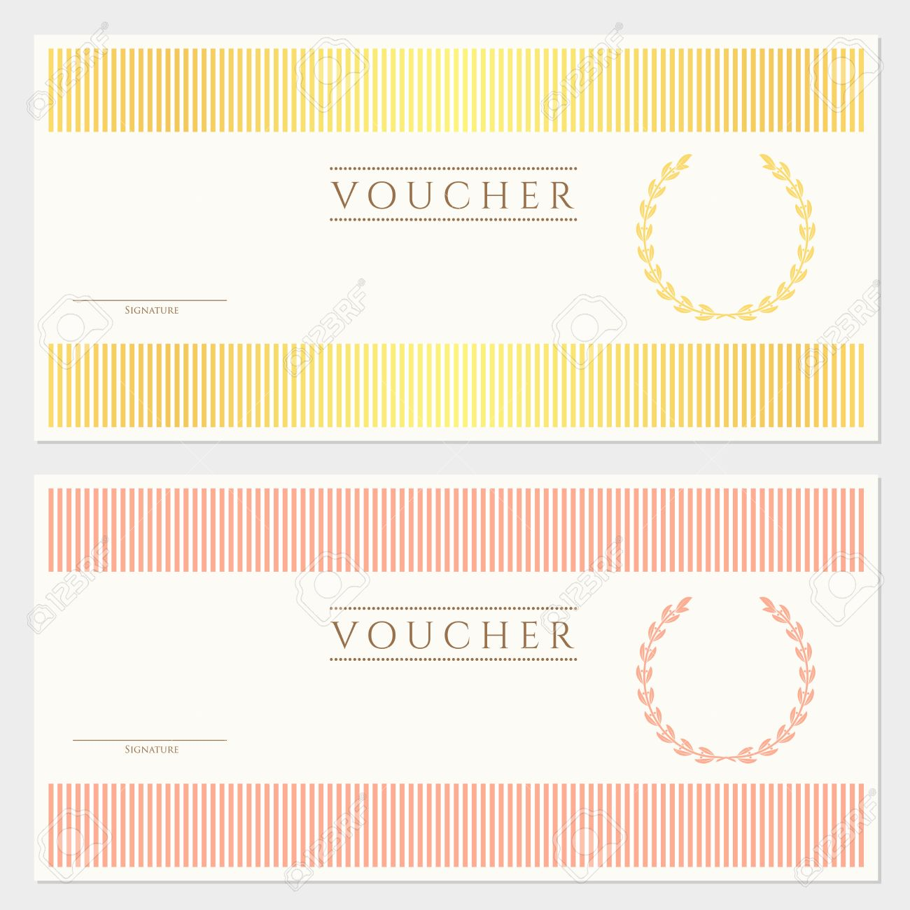 Voucher Gift Certificate Template With Colorful Stripy Pattern – Template for a Voucher