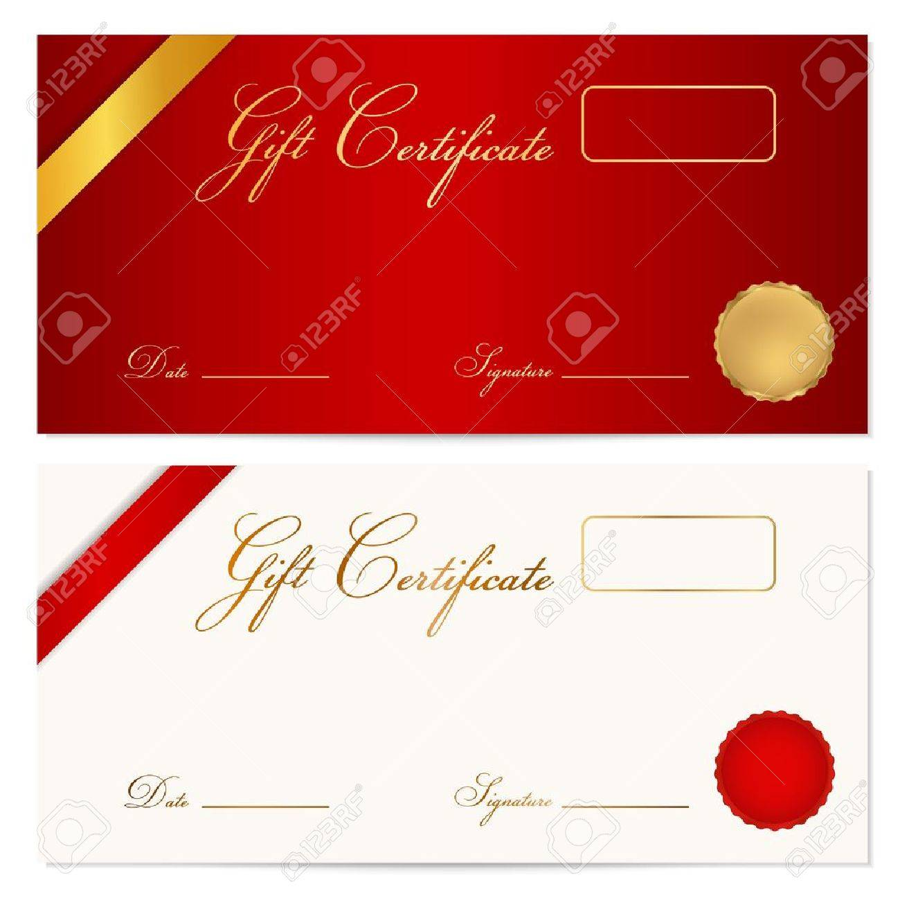 Voucher gift certificate coupon template with ribbon seal voucher gift certificate coupon template with ribbon seal wax background design for invitation yadclub Image collections