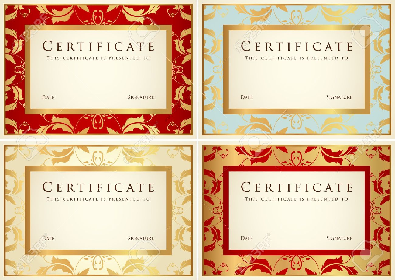 Certificate Of Completion Template Or Sample Background With Flower
