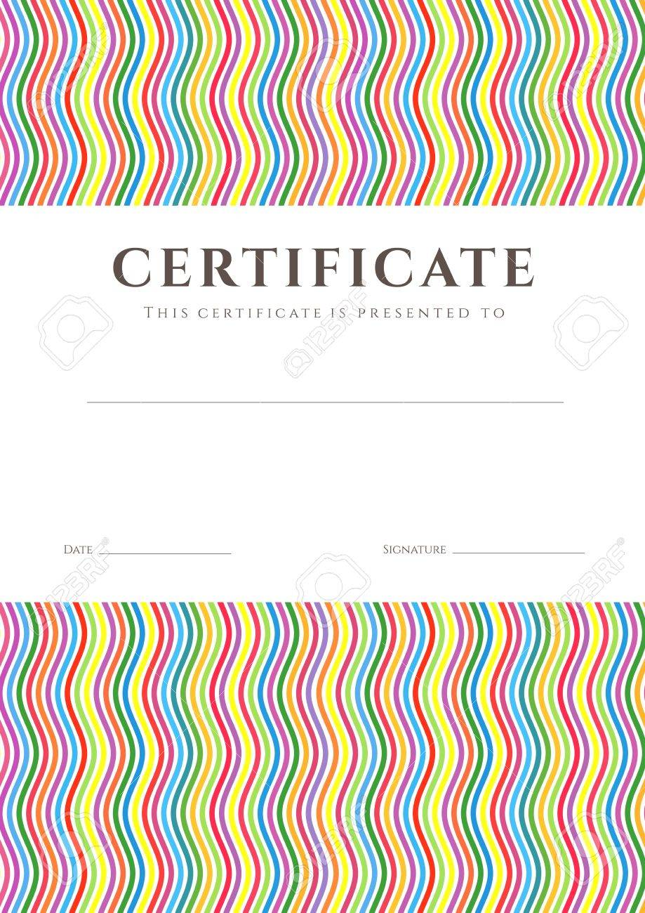 Certificate of completion  template or sample background  with colorful  bright, rainbow  wave lines pattern and place for text Stock Vector - 20183558