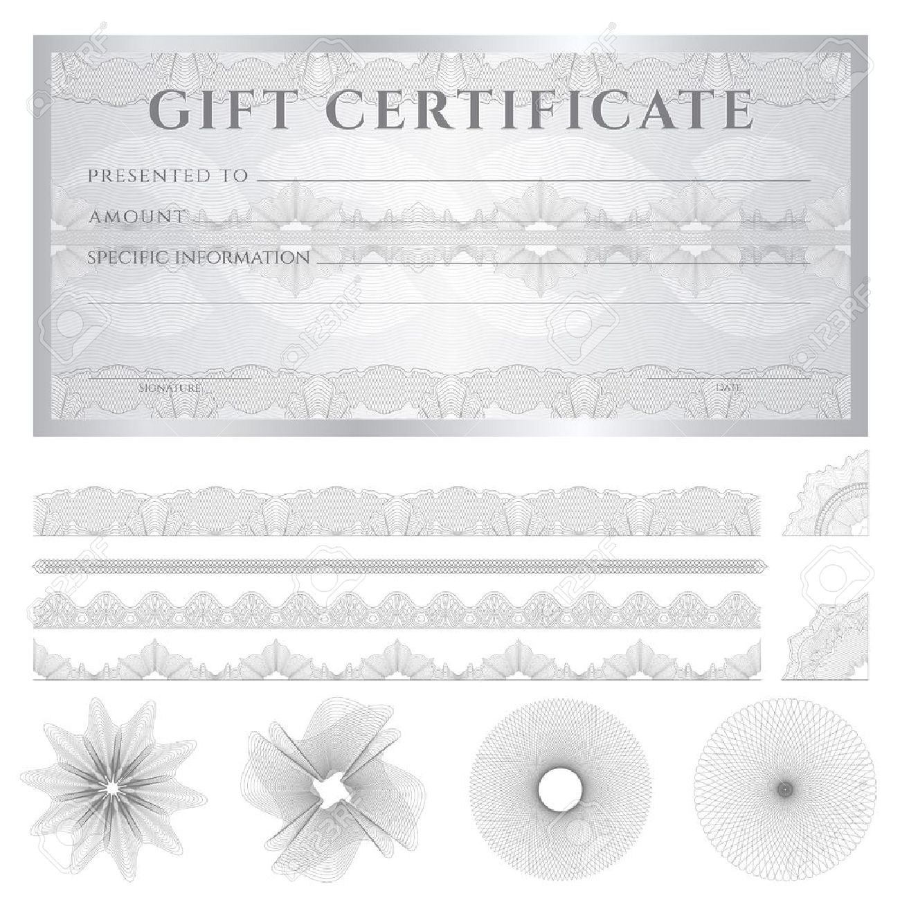 Gift certificate, Voucher, Coupon template (layout) with guilloche pattern (watermarks), border. Stock Vector - 20183568