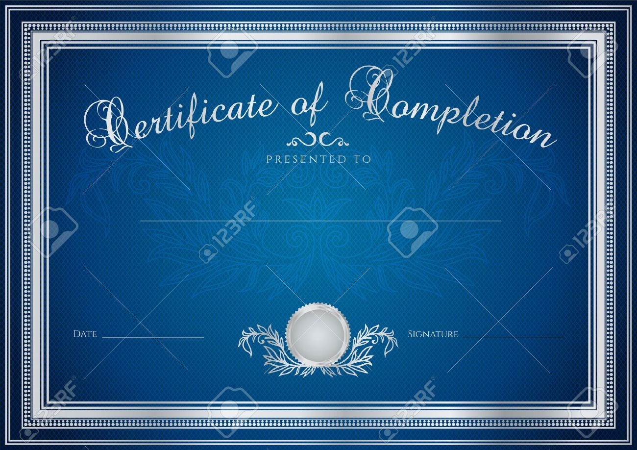 Dark Blue Certificate, Diploma Of Completion (design Template ...