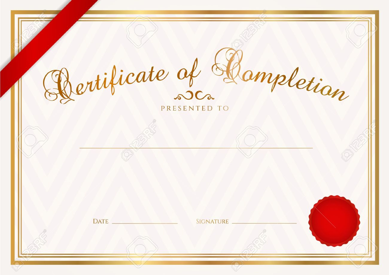 Certificate, Diploma Of Completion Design Template, Sample Background With  Abstract Pattern, Gold Border  Free Award Certificate Templates
