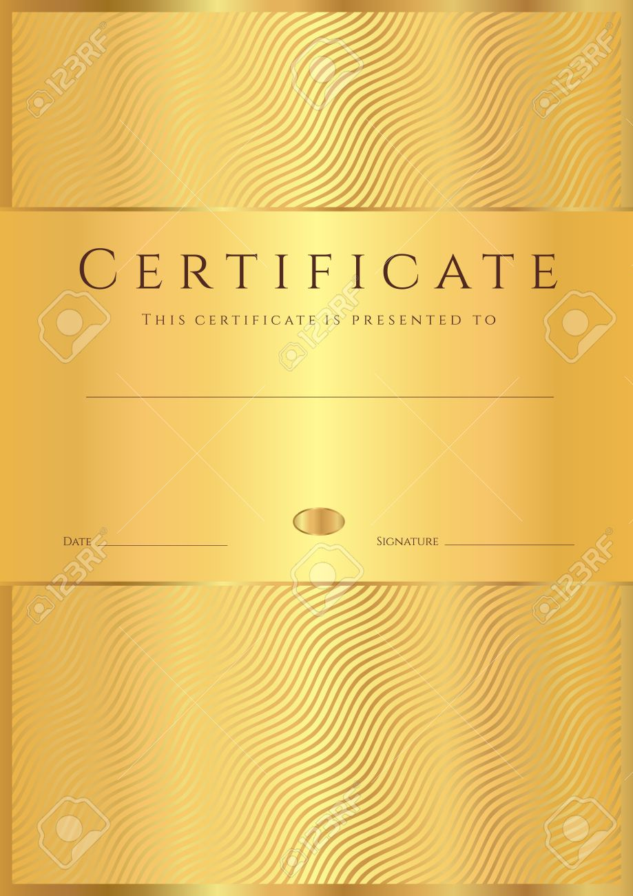 Certificate of completion template or sample background with certificate of completion template or sample background with golden wave lines pattern gold design for diploma yelopaper Gallery