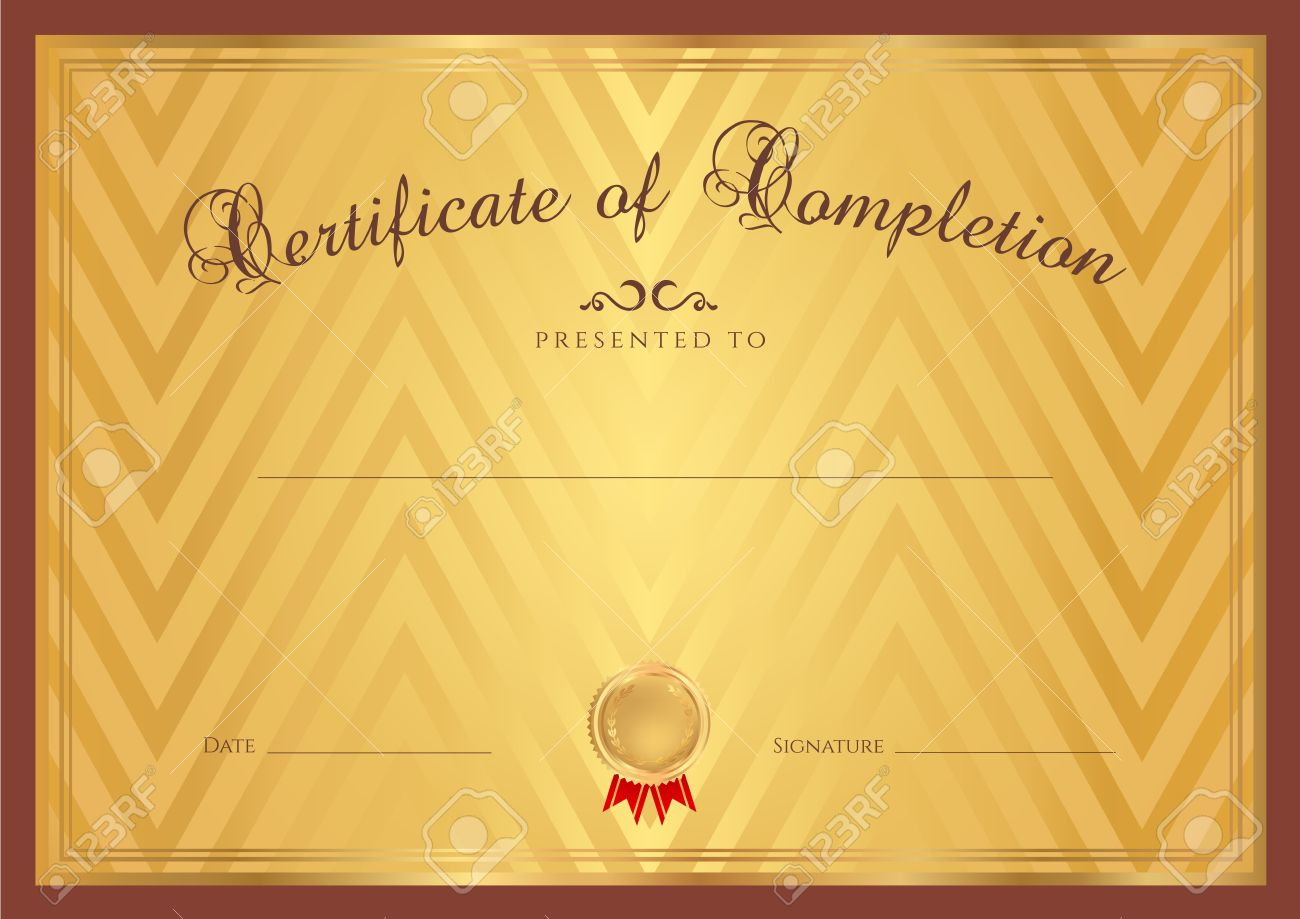 Certificate diploma of completion design template gold background certificate diploma of completion design template gold background with abstract pattern brown border frame yelopaper Image collections