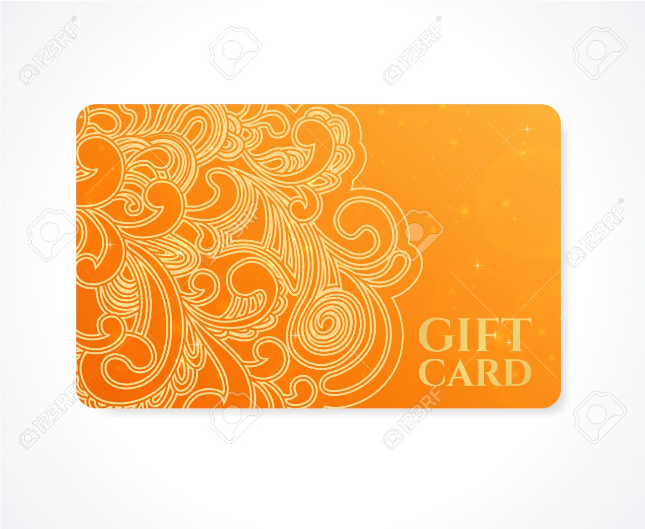 Bright orange gift card business card discount card template with banco de imagens bright orange gift card business card discount card template with floral scroll swirl shape pattern design for discount card reheart Image collections