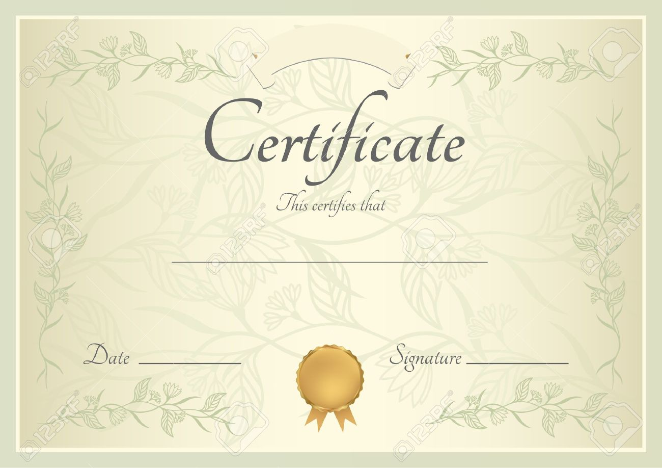 Certificate of completion template or sample background with certificate of completion template or sample background with floral pattern green frame and gold medal alramifo Choice Image