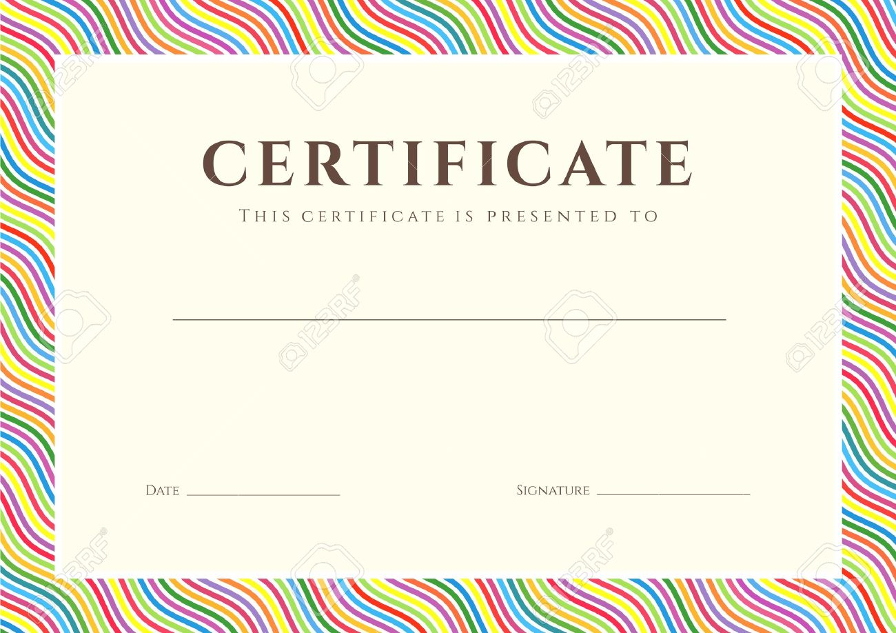 Certificate of completion template or sample background with certificate of completion template or sample background with colorful bright rainbow wave lines pattern border 1betcityfo Image collections