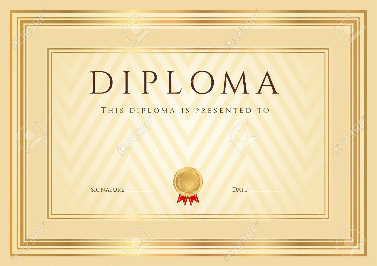 Certificate diploma of completion design template background certificate diploma of completion design template background with abstract pattern gold border frame yadclub Gallery