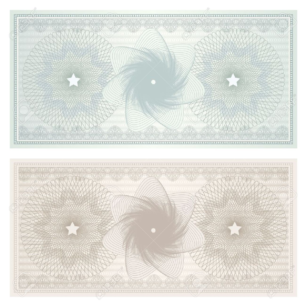 Gift Certificate Voucher Coupon Template With Guilloche Pattern