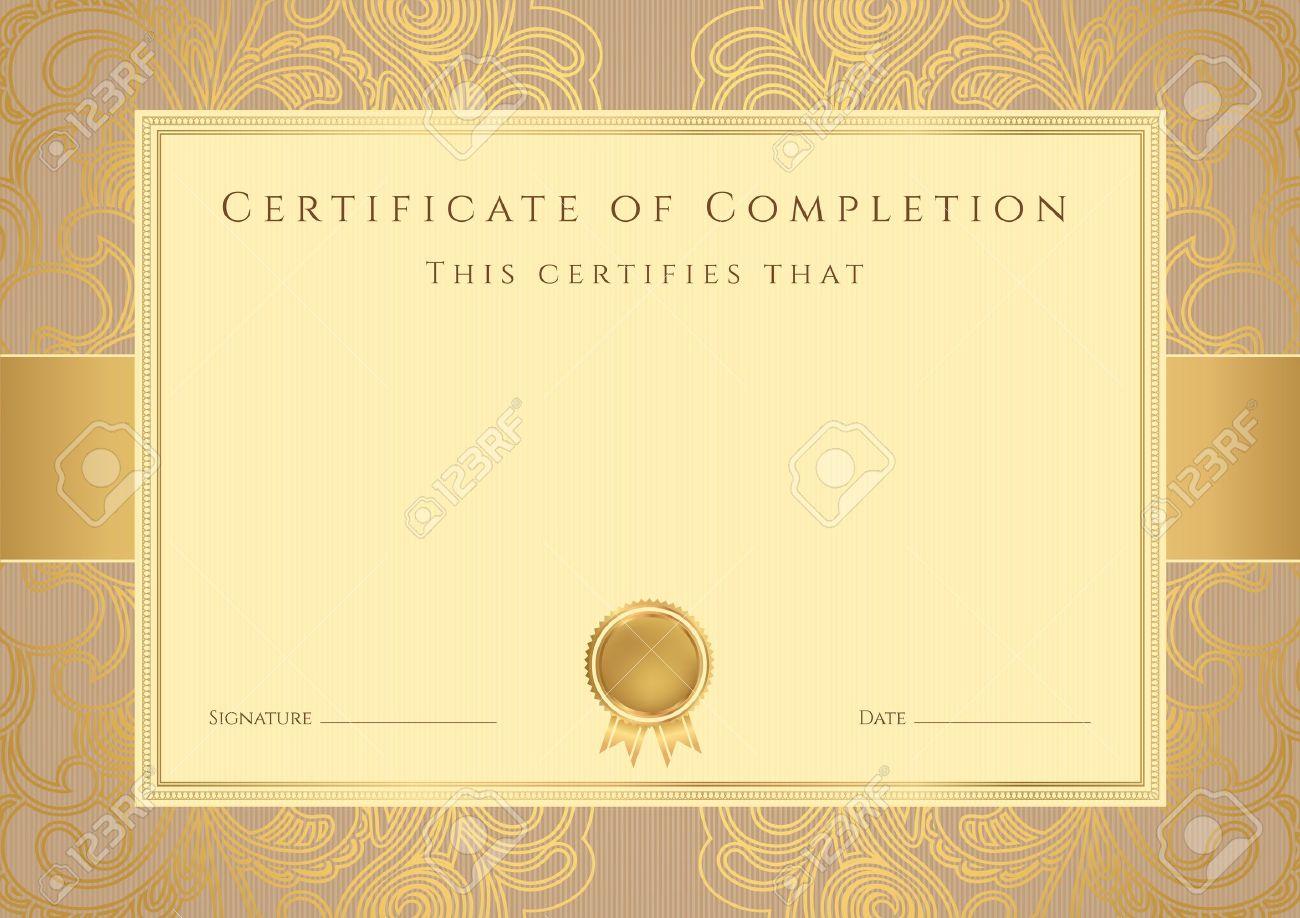 Certificado, Diploma De Finalización Plantilla De Diseño, Fondo Con ...
