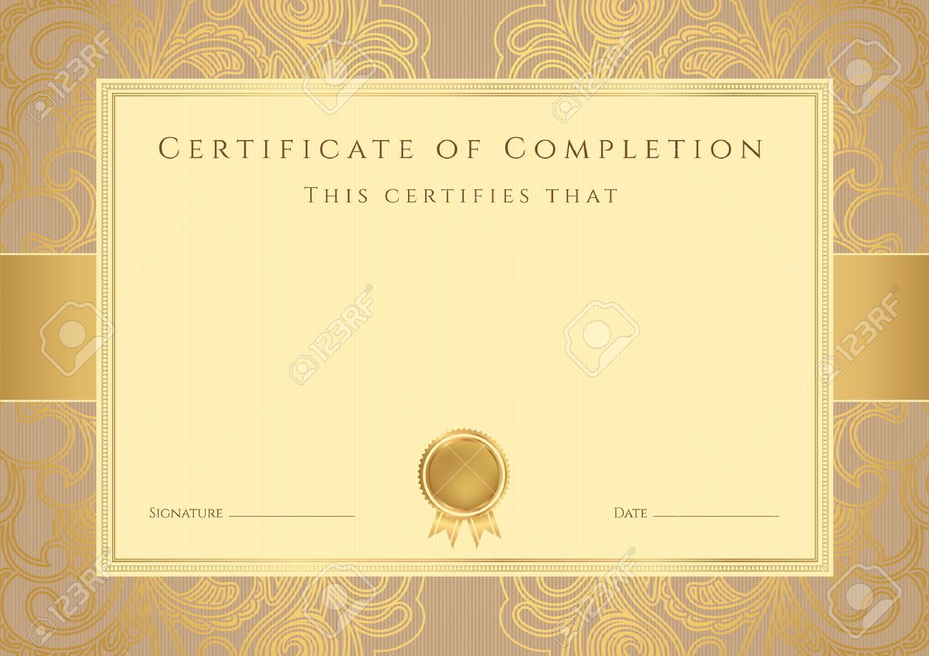 Certificate diploma of completion design template background certificate diploma of completion design template background with abstract pattern gold border frame yadclub Image collections