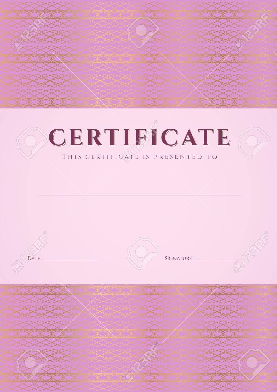 Certificado Rosa, Diploma De La Plantilla De Diseño De La ...