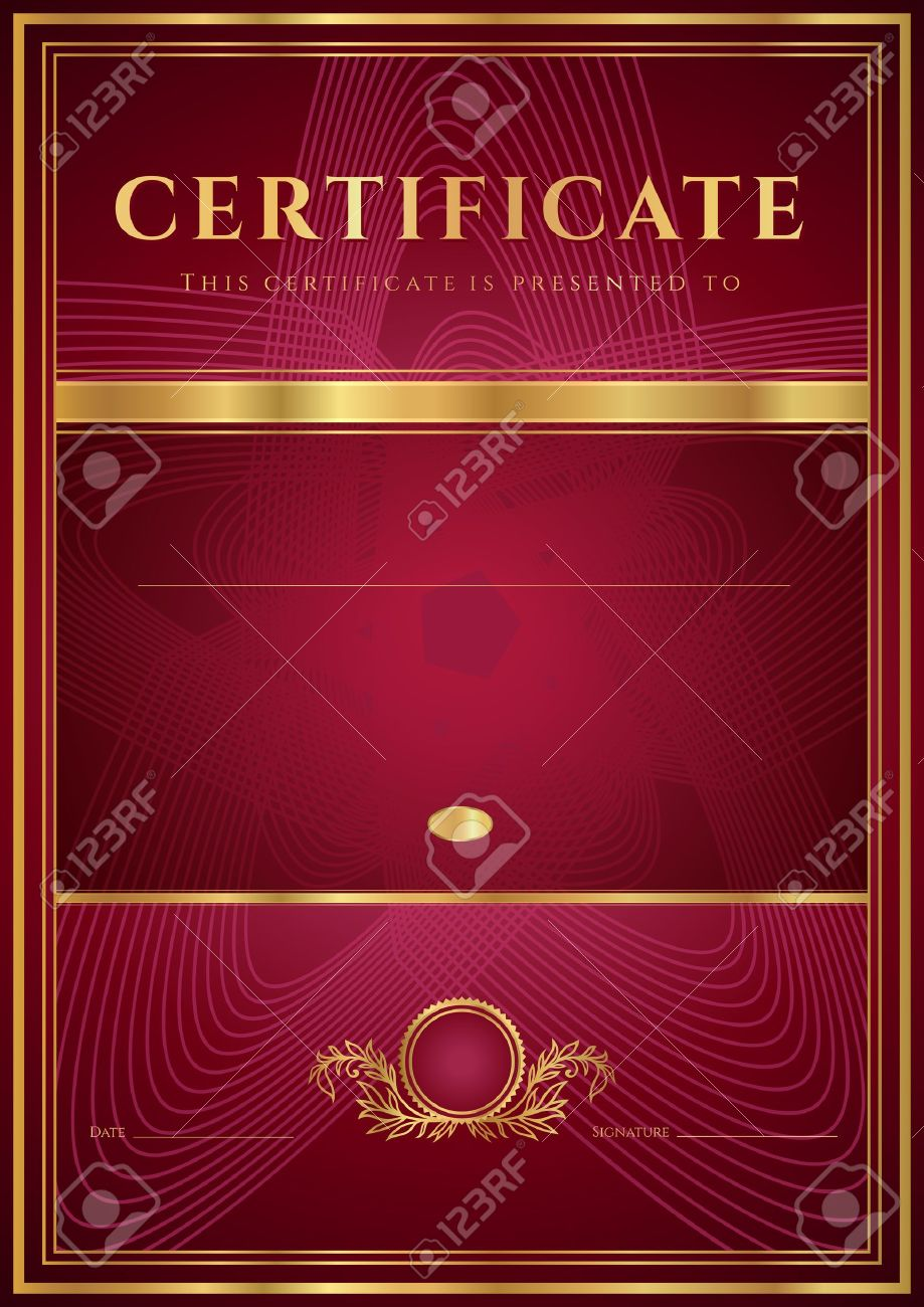 Dark red certificate diploma of completion design template dark red certificate diploma of completion design template background with floral pattern gold yadclub Gallery