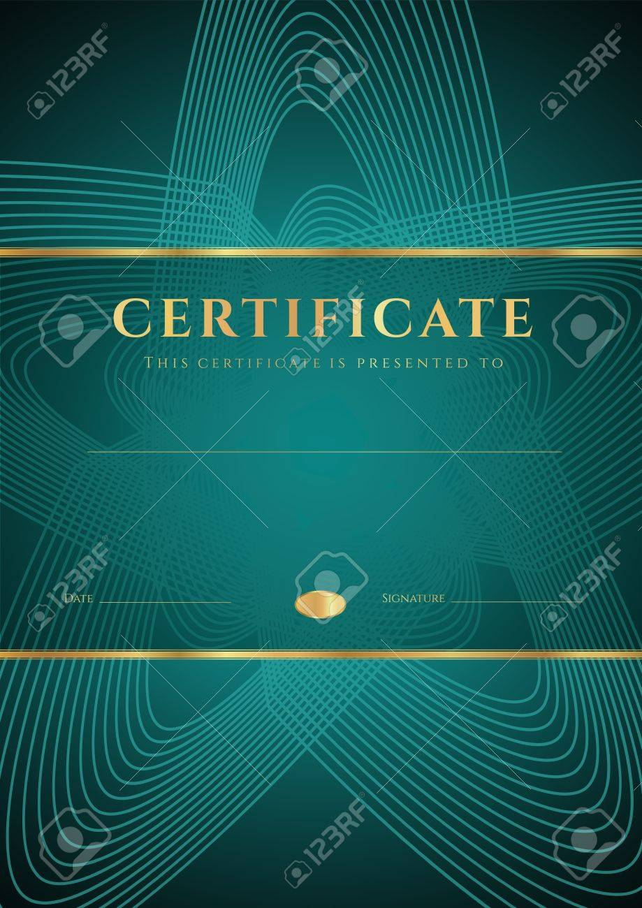 Dark green Certificate, Diploma of completion  design template, background  with star shape pattern, gold border  frame , insignia  For  Certificate of Achievement, Certificate of education, awards Stock Vector - 21398066