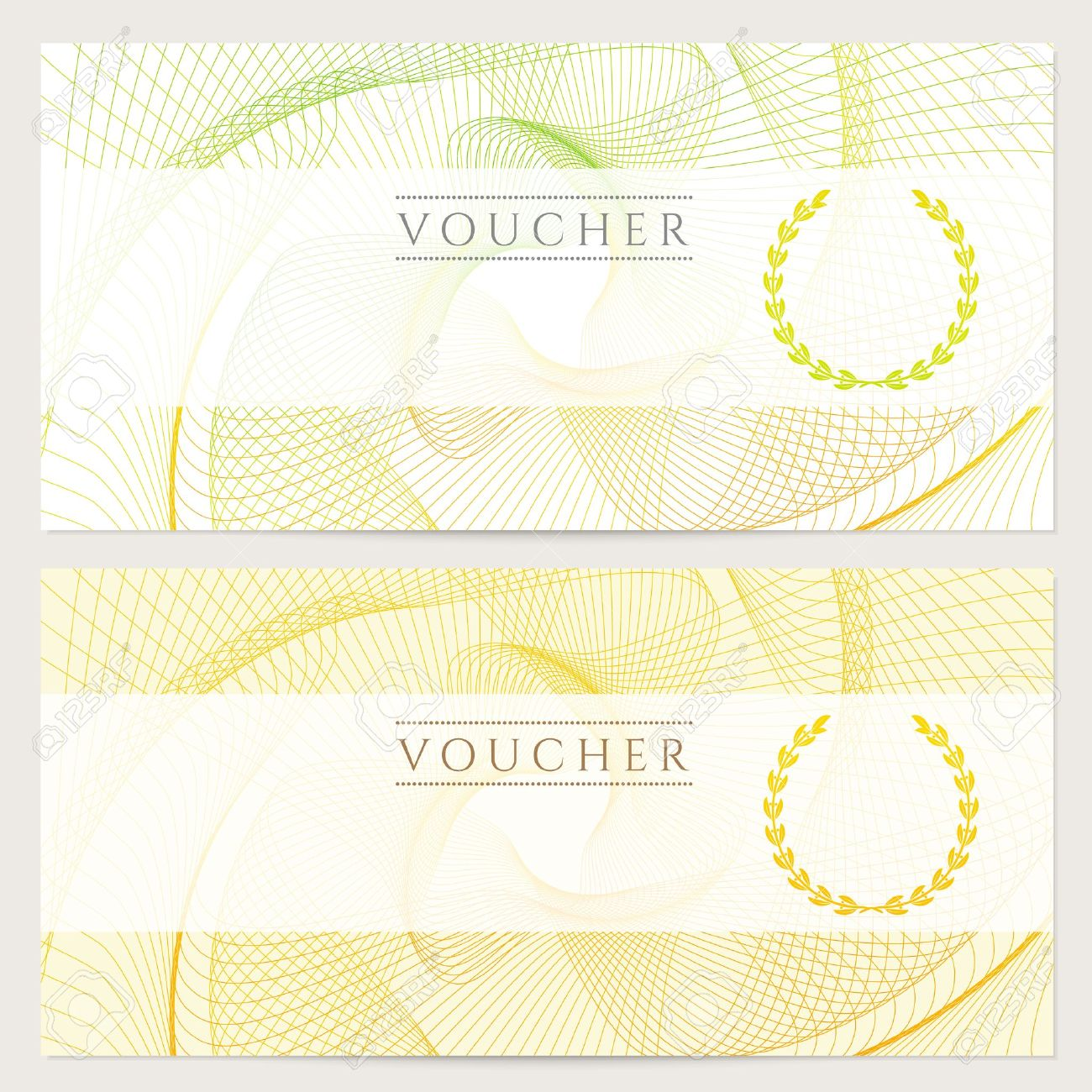 Gift Certificate, Voucher, Coupon Template With Colorful Rainbow Guilloche  Pattern Watermark Background For Banknote  Money Note Template