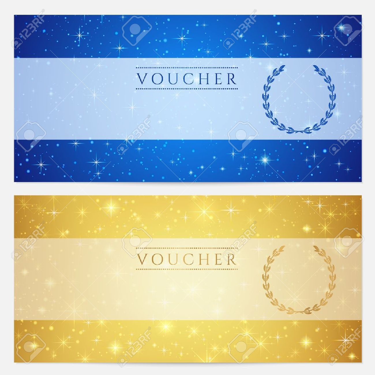 Gift Certificate Voucher Coupon Template With Sparkling – Ticket Voucher Template