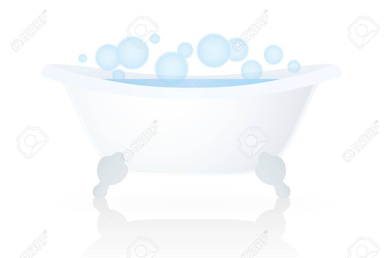 White Bath Tub, Bathtub With Bubbles Isolated Vector Royalty Free ...