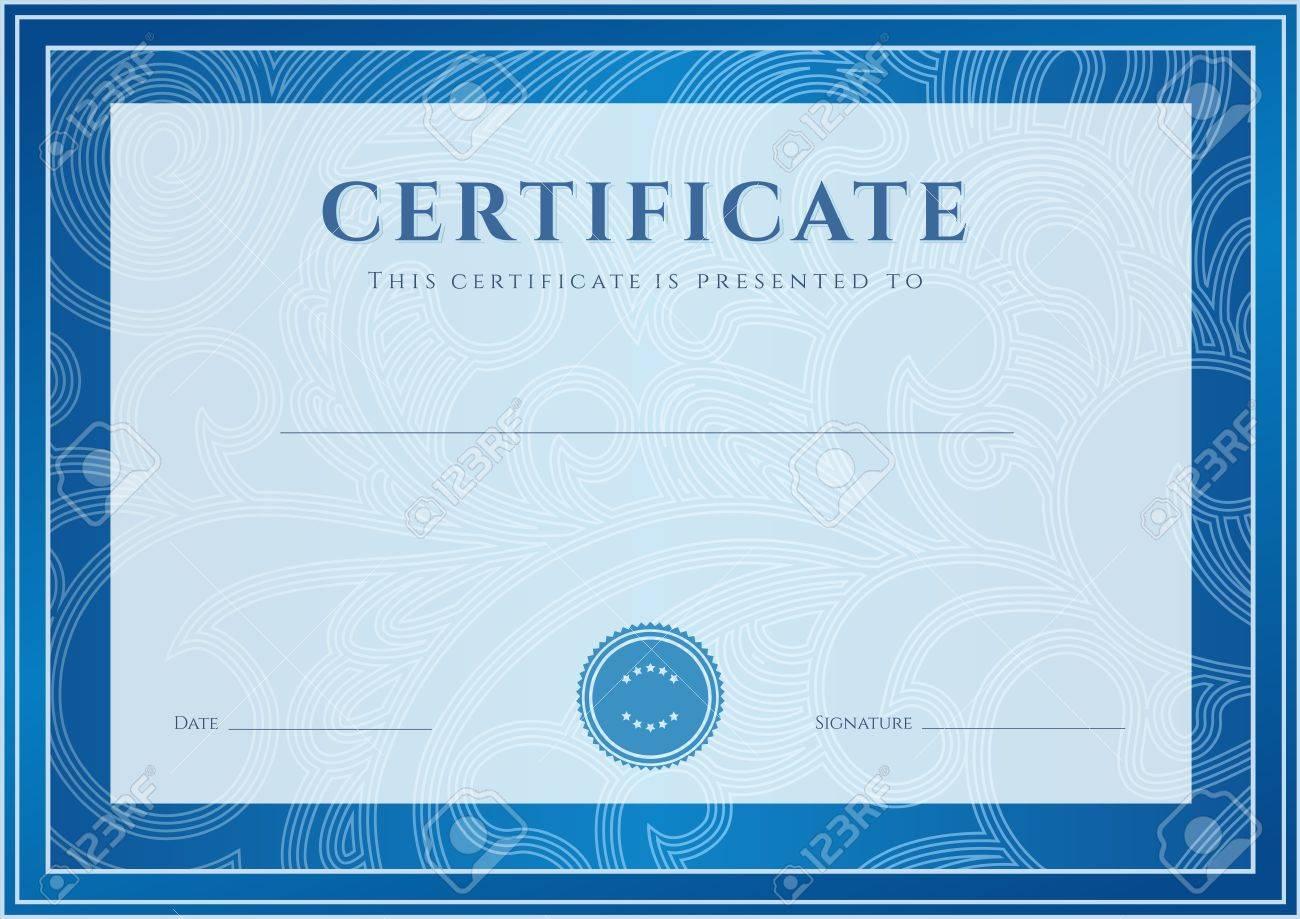 Certificado, Diploma De La Plantilla De Diseño De La Terminación ...