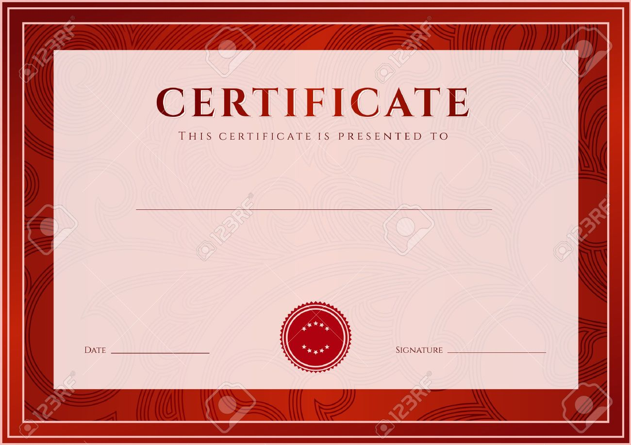 Certificate, Diploma Of Completion Design Template, Background ...