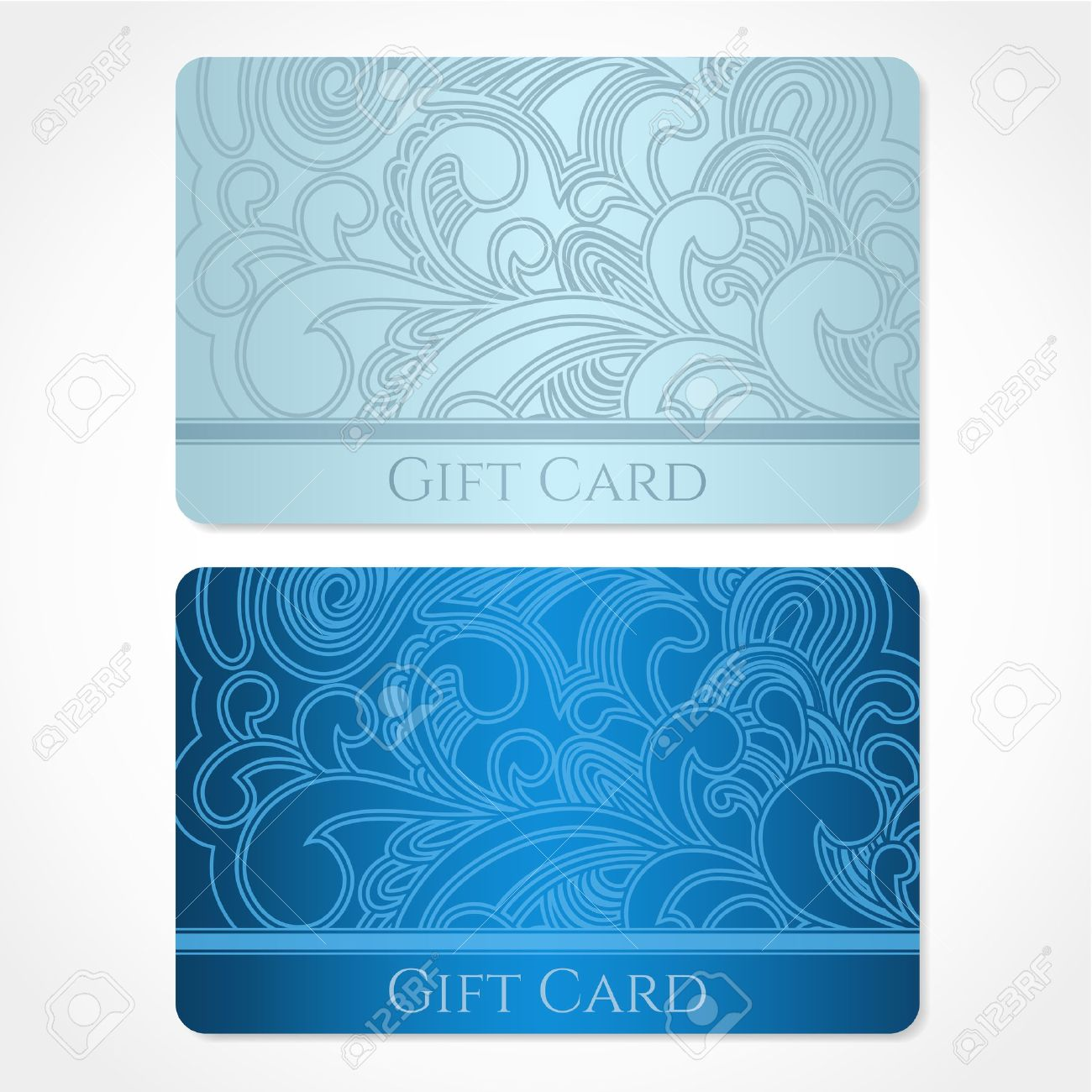 Blue, Turquoise Gift Card Discount Card, Business Card With Floral ...