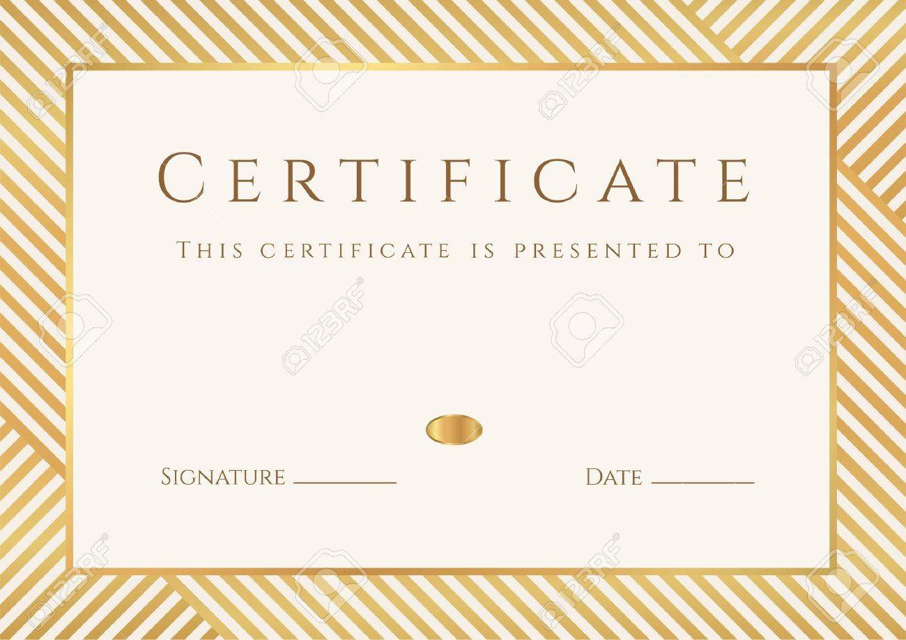 Certificate, Diploma Of Completion Template, Background With ...