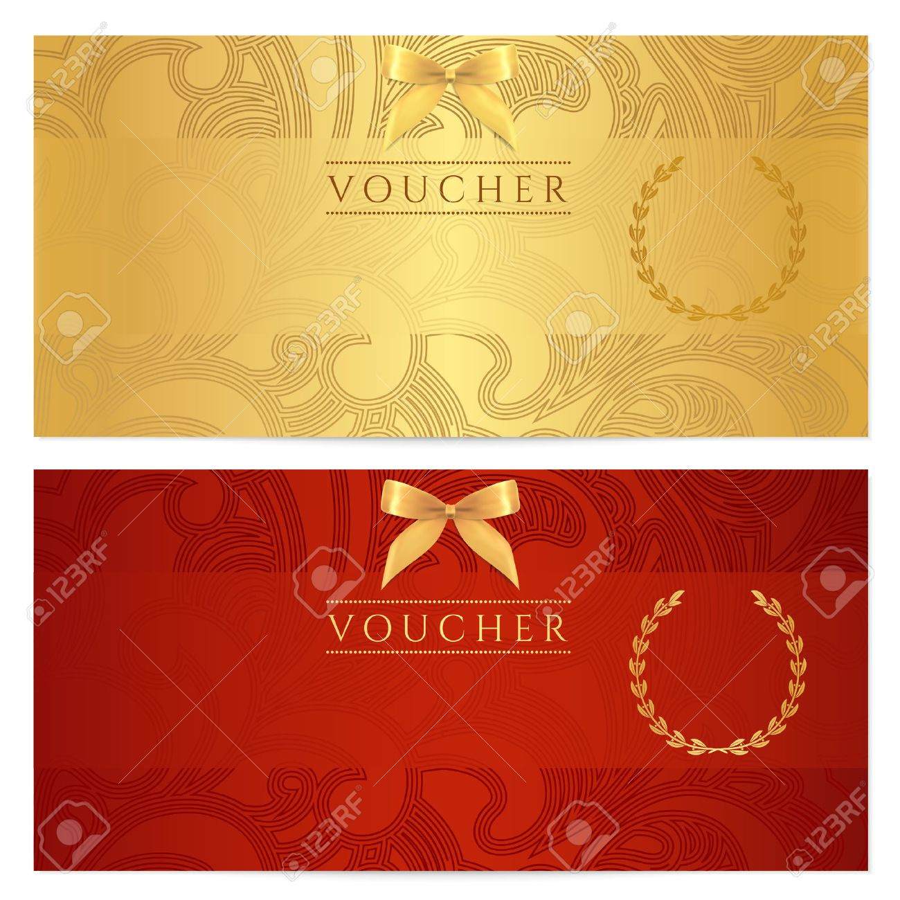 Voucher, Gift certificate, Coupon template Floral, scroll pattern bow, frame Background design for invitation, ticket, banknote, money design, currency, check cheque Red, gold - 22502374