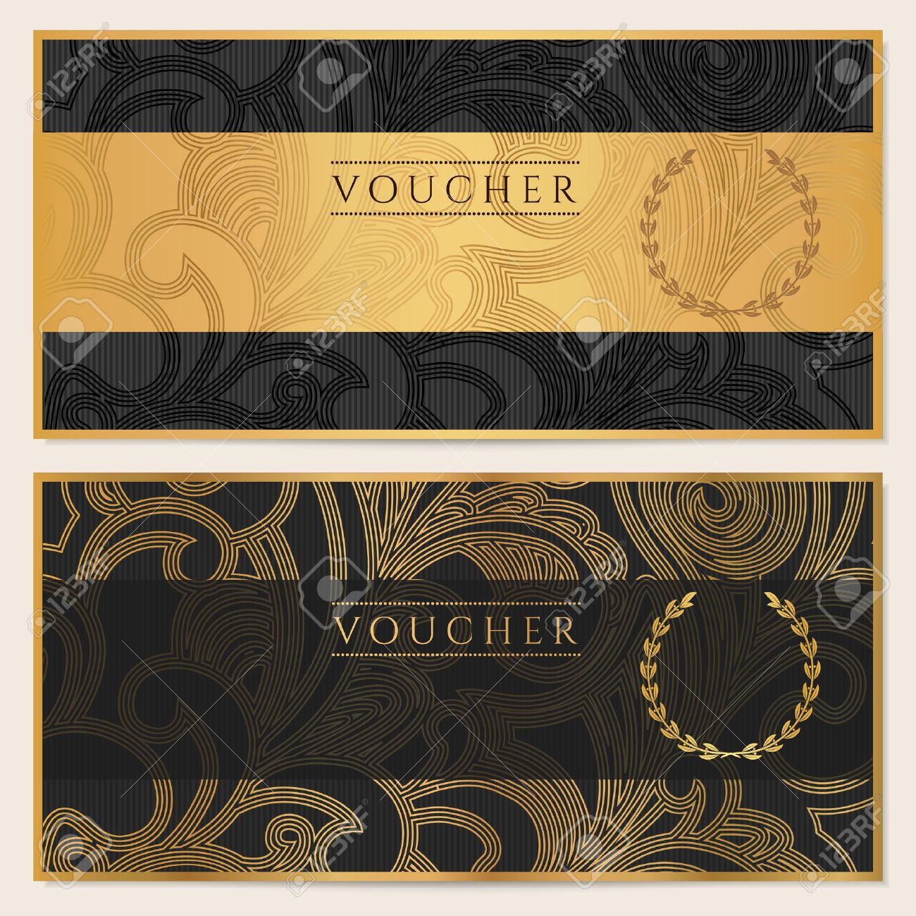 Voucher gift certificate coupon template floral scroll pattern voucher gift certificate coupon template floral scroll pattern bow frame background design yadclub Gallery