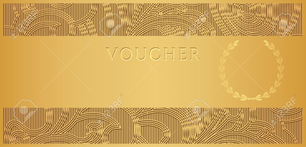 Voucher gift certificate coupon template with floral scroll voucher gift certificate coupon template with floral scroll pattern frame border yadclub Image collections