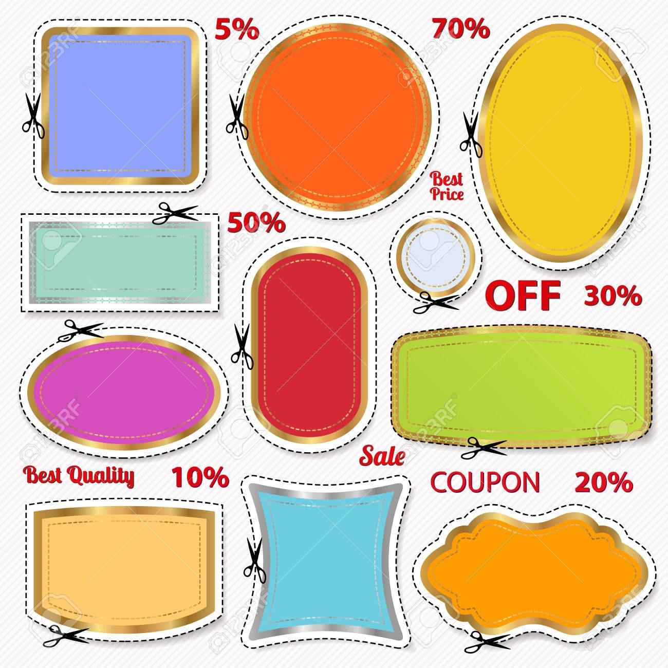 Set Sale Coupon Labels Banner Tag Template Layout With Royalty – Sale Tag Template