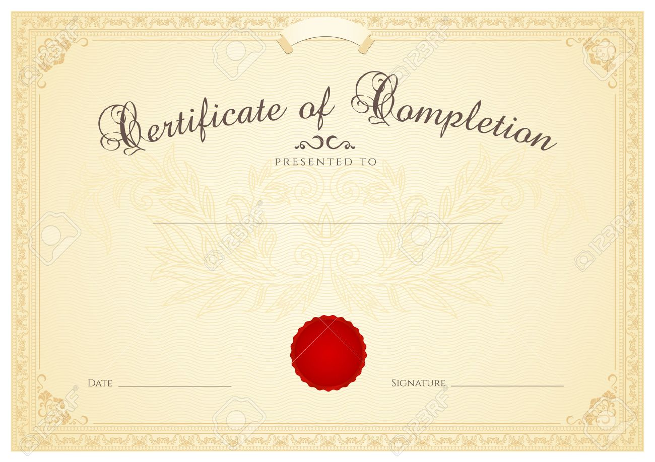 Certificate diploma of completion design template background certificate diploma of completion design template background with floral pattern watermark border yadclub Gallery