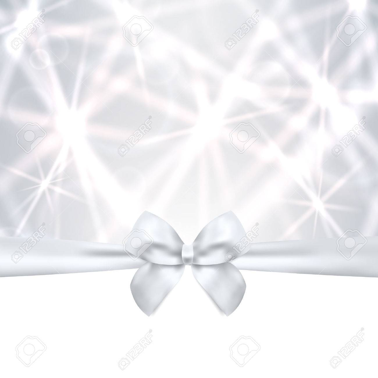 Holiday card, Christmas card, Birthday card, Gift card  greeting card  silver template with bow, ribbon  present , sparkling, twinkling stars  Celebration background design for invitation Stock Vector - 23041625
