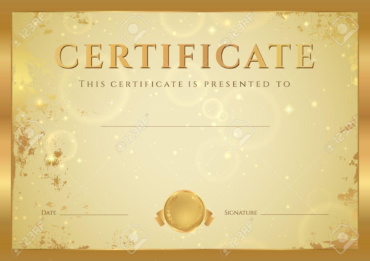 Сертификат об окончании шаблон Диплом фон с золотой гранж  Сертификат об окончании шаблон Диплом фон с золотой гранж старого образца звезд