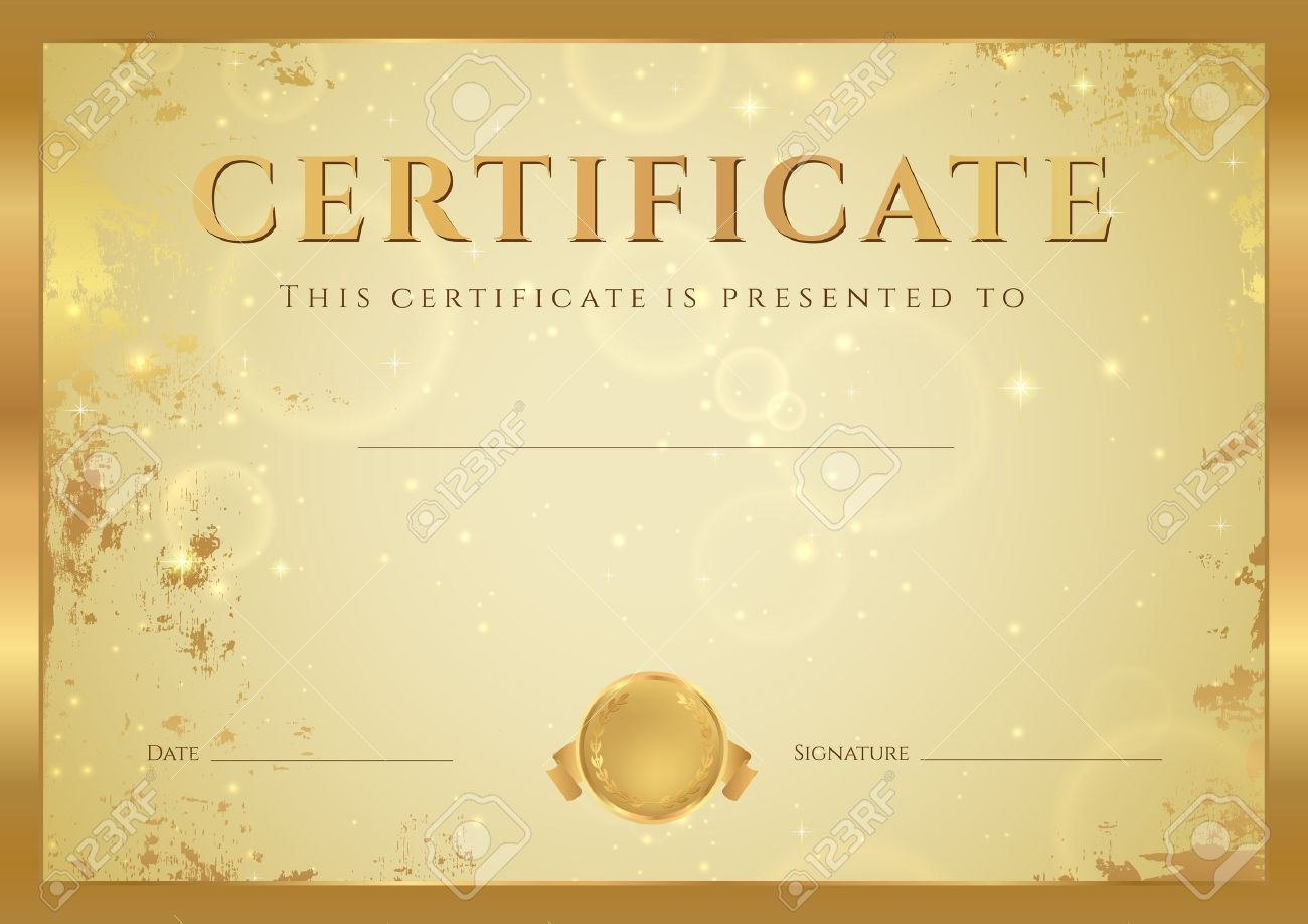 Certificate of completion diploma design template background certificate of completion diploma design template background with gold grunge old pattern xflitez Gallery