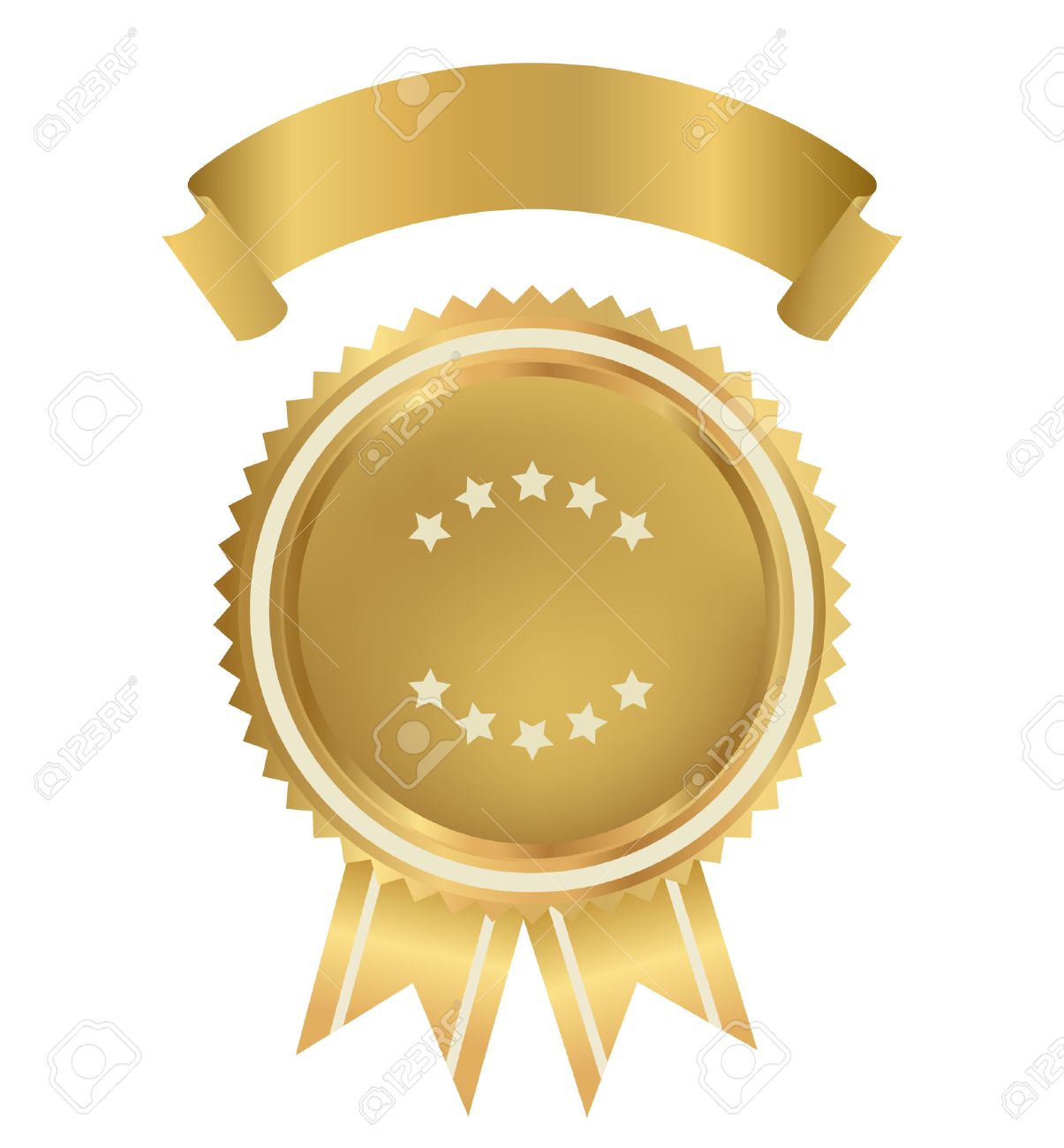 Award, Insignia, Badge for certificate, diploma, web page  Golden medal with gold ribbon  sign of winner   Prize of First  Premium quality, Best price, choice, guarantee, Best seller  Isolated vector Stock Vector - 23459969