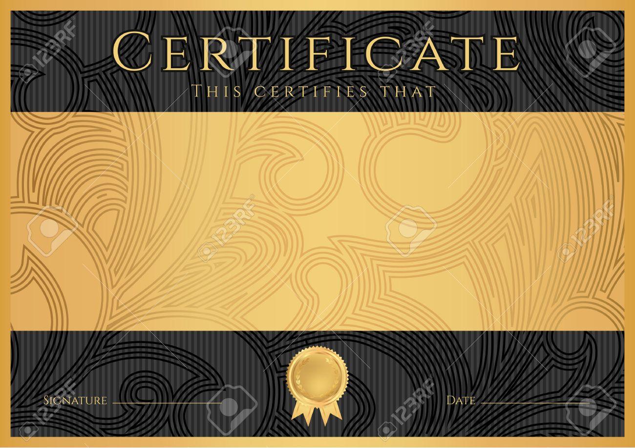 Certificado, Diploma De Finalización Plantilla De Diseño Negro ...