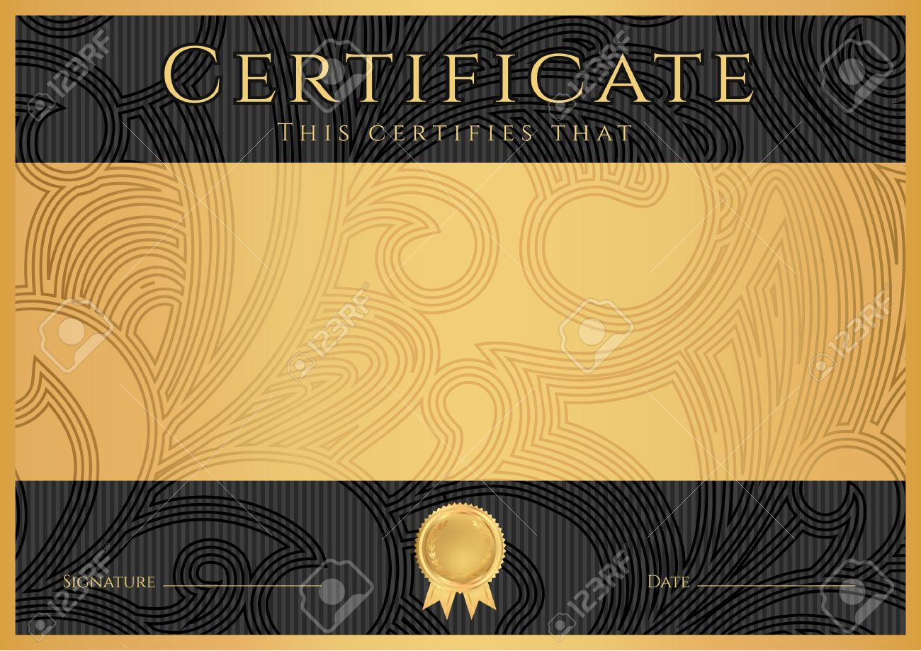 Certificate, Diploma Of Completion Black Design Template, Dark ...