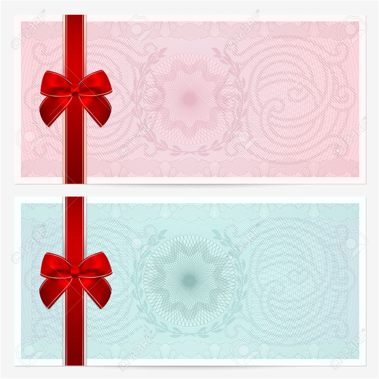 Buono Regalo Buono Template Coupon Con Guilloché Colorato Motivo