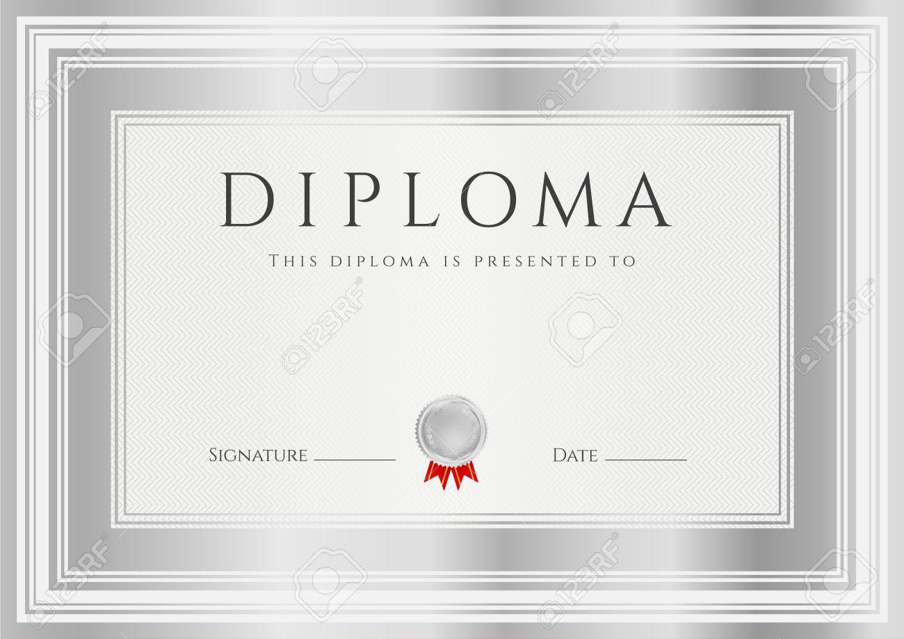 Diploma, Certificado De Finalización Plantilla De Diseño, Fondo Con ...
