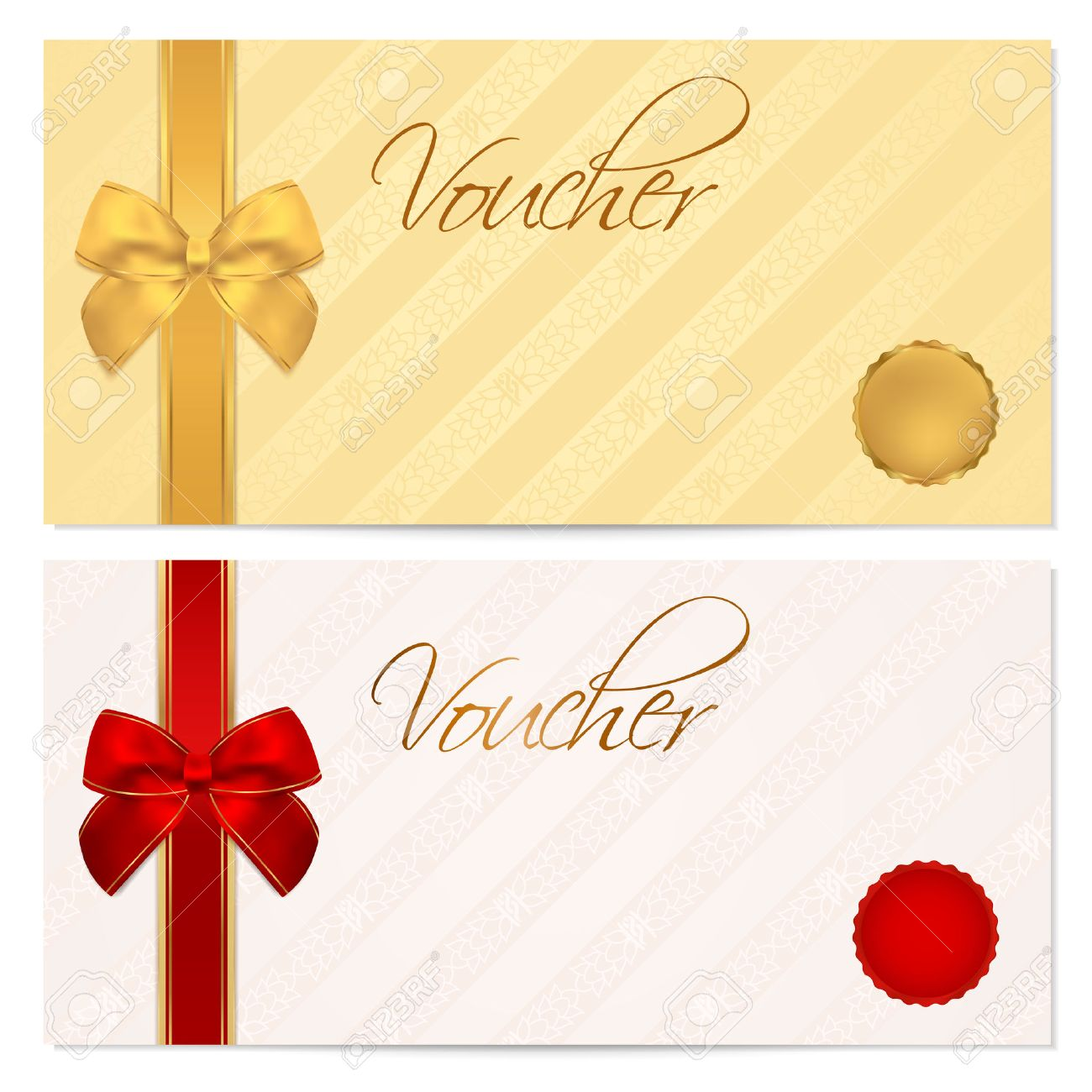 voucher gift certificate coupon template stripe pattern voucher gift certificate coupon template stripe pattern red and gold bow background