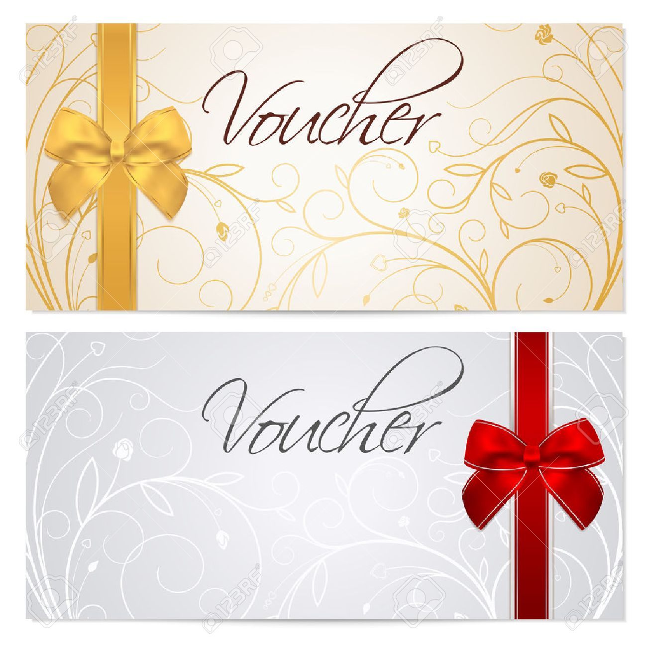 Voucher, Gift Certificate, Coupon Template With Floral Scroll ...