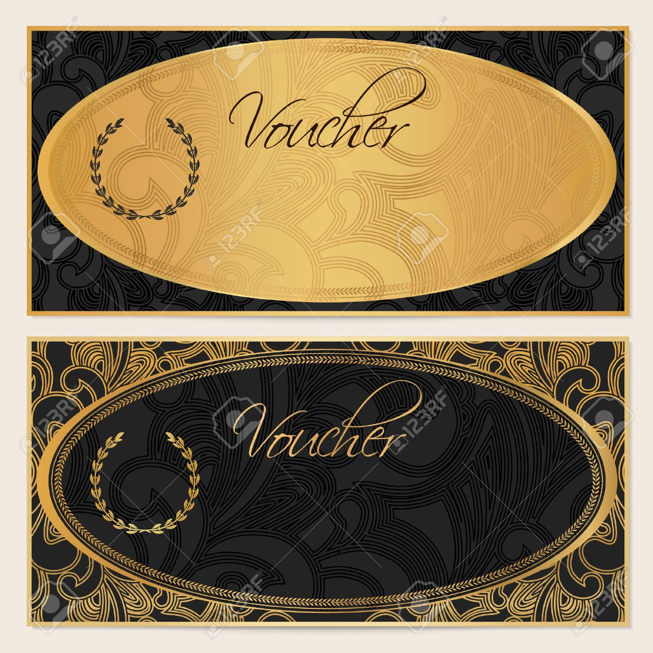 Voucher gift certificate coupon template floral scroll pattern coupon template floral scroll pattern gold ellipse frame black background design for invitation ticket banknote money design check cheque vector stopboris Gallery