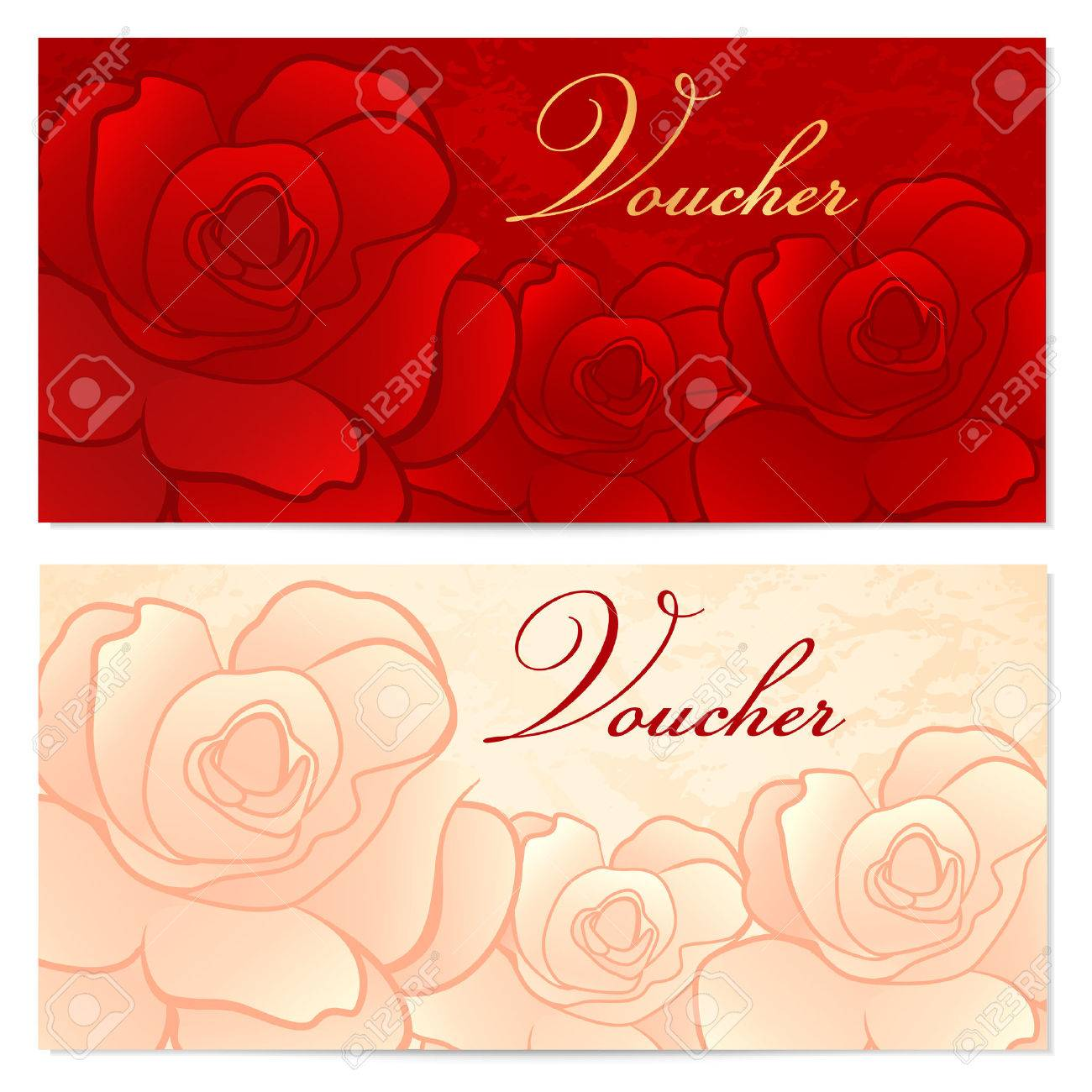 Voucher gift certificate coupon template with floral rose voucher gift certificate coupon template with floral rose pattern red background for invitation yadclub Gallery