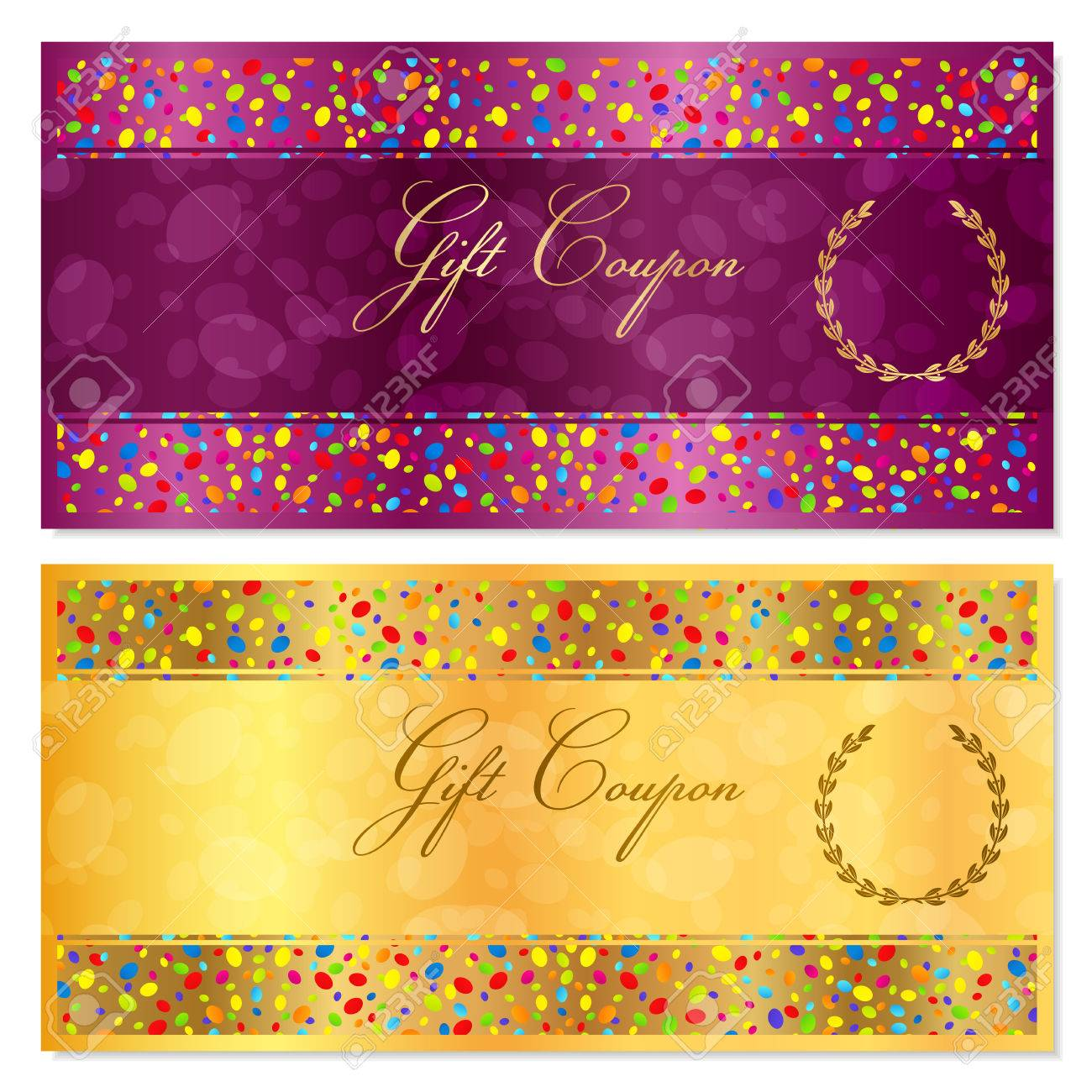 Gift certificate coupon voucher reward or gift card template gift certificate coupon voucher reward or gift card template with bright confetti colorful yelopaper Image collections