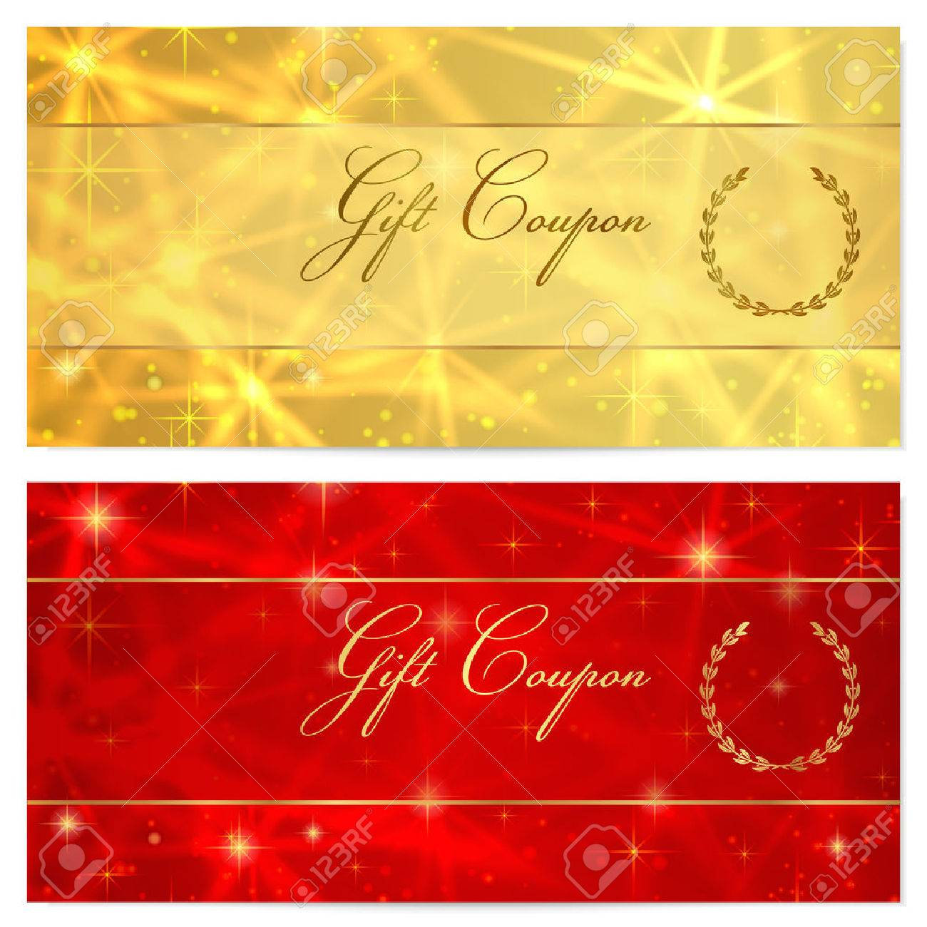 Gift certificate voucher coupon reward or gift card template gift certificate voucher coupon reward or gift card template with sparkling twinkling yelopaper Image collections