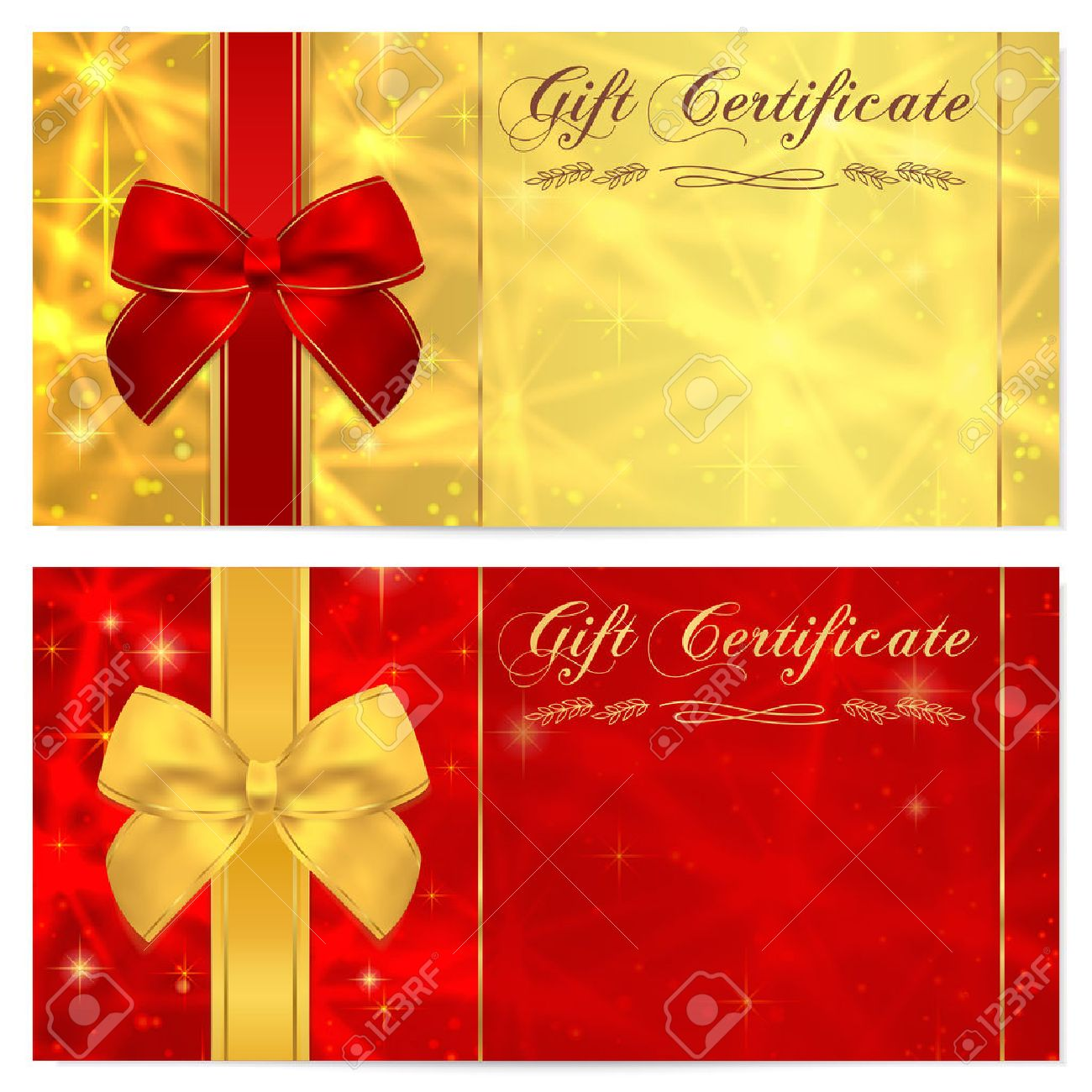 Gift Certificate, Voucher, Coupon, Invitation Or Gift Card Template ...
