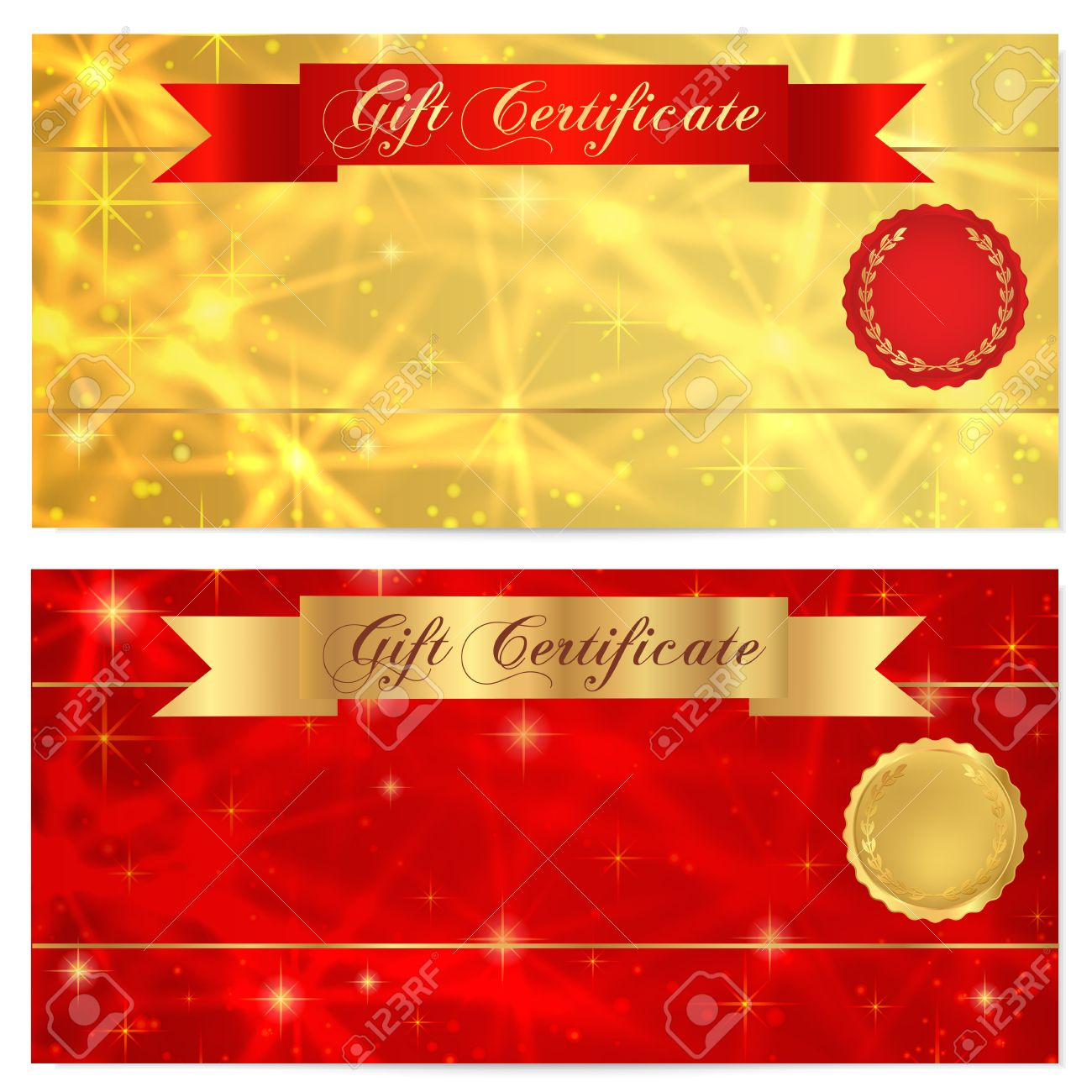 Gift Certificate, Voucher, Coupon, Reward Or Gift Card Template With  Sparkling, Twinkling  Gift Card Templates