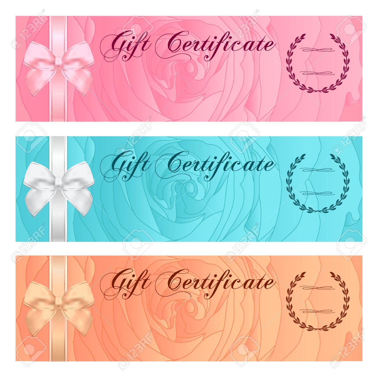 Gift certificate voucher coupon reward gift card template gift certificate voucher coupon reward gift card template with bow floral rose yadclub Image collections