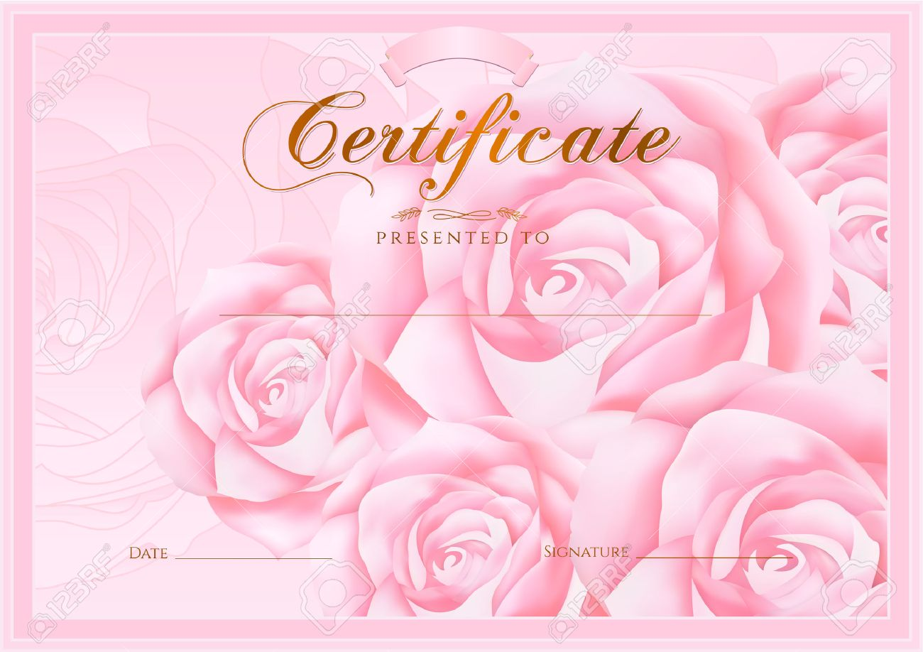 Certificate diploma of completion rose design template flower certificate diploma of completion rose design template flower background with floral pattern kristyandbryce Image collections